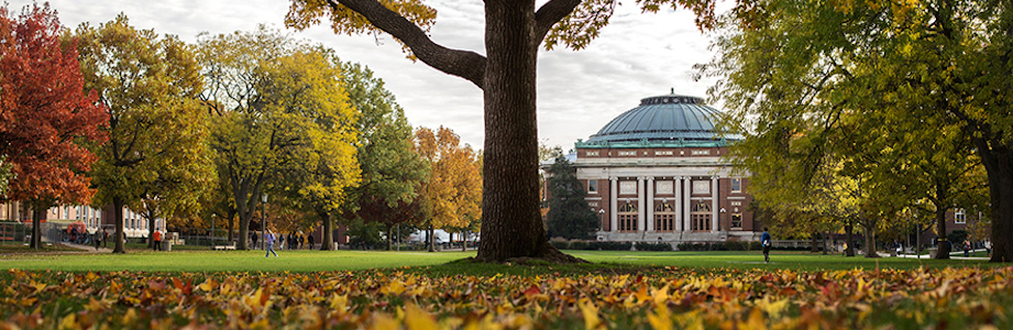 University of Illinois Foellinger Auditorium and Main Quad fall colors.